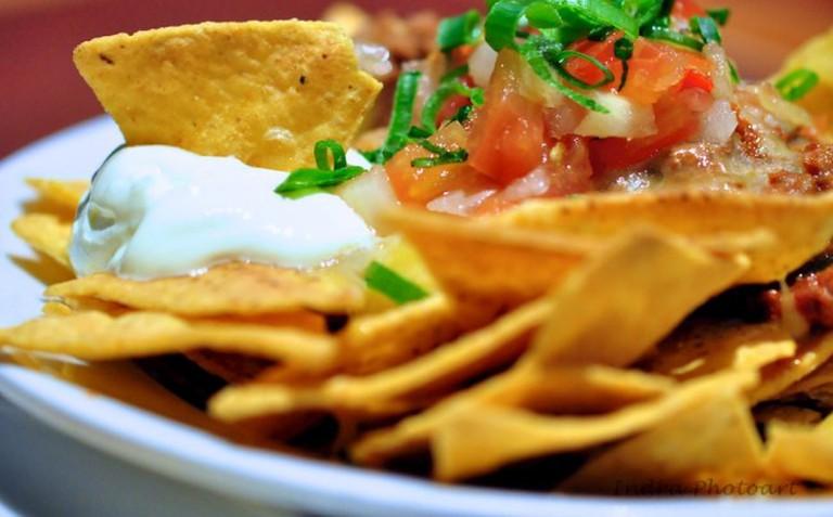 A plate of nachos