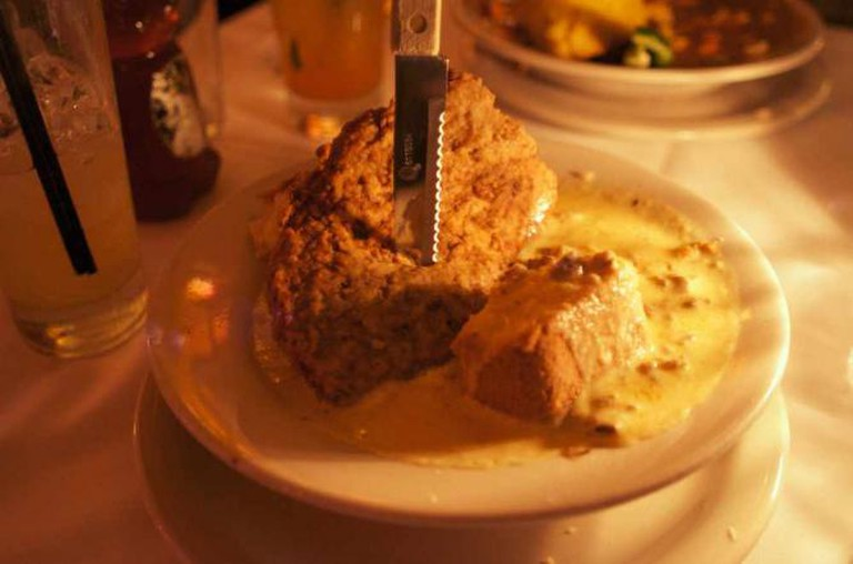 Biscuit with sausage gravy at Le Bistro Montage