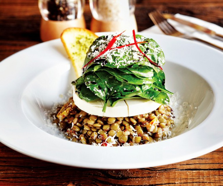 Prepared with a special presentation, goat cheese lentil salad