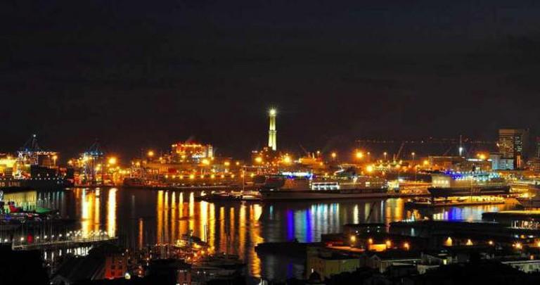 Genoa's coast by night