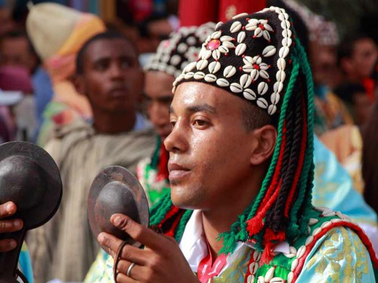 Gnawa musician playing