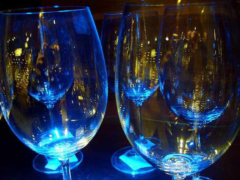 Blue wine glasses