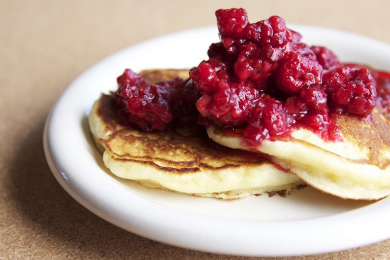 Buttermilk pancake with some raspberries