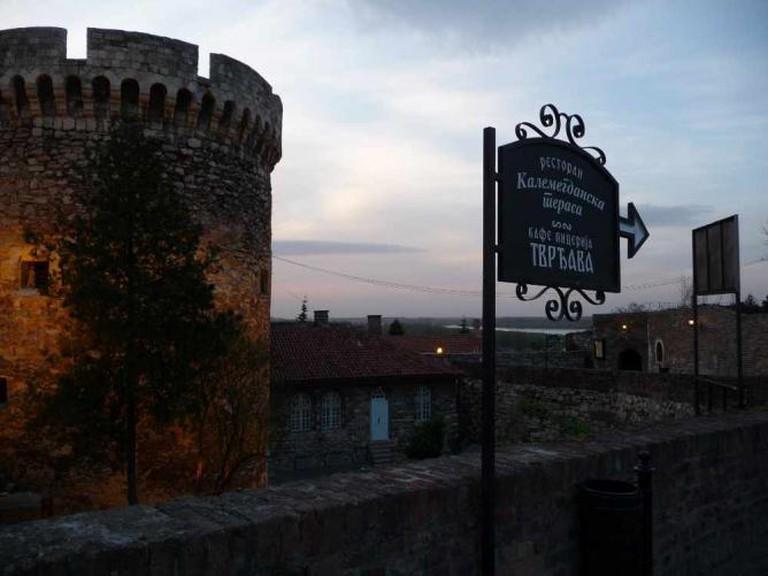 Kalemegdan Fortress and sign towards restaurant