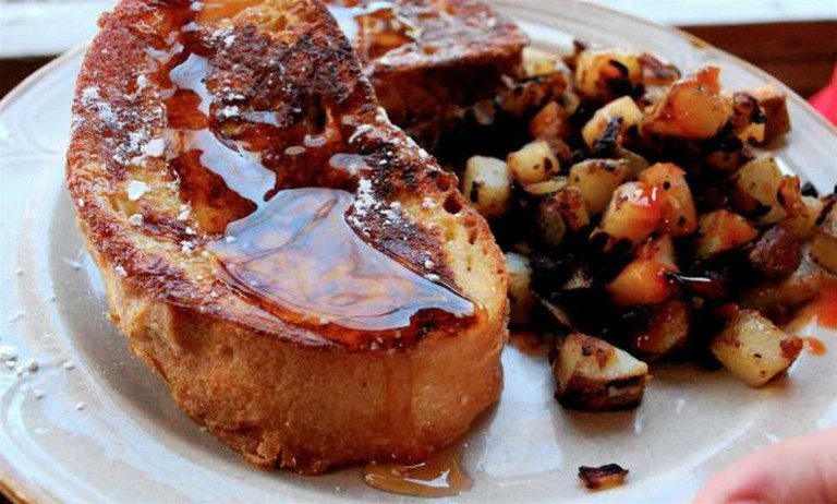 Stuffed French toast w/maple syrup and home fries