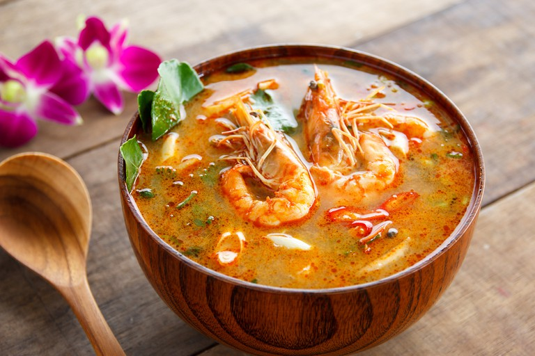 Tom Yam Kung ,thai food in wooden bow