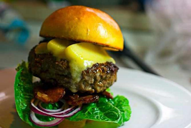 Burger with bacon and cheese