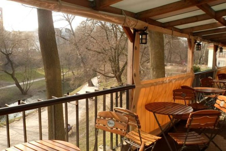 Outdoor Patio overlooking the Łyna river