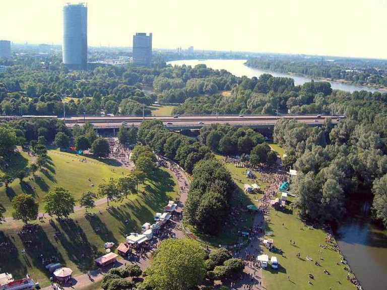 Aerial view of Rheinaue Leisure Park in Bonn