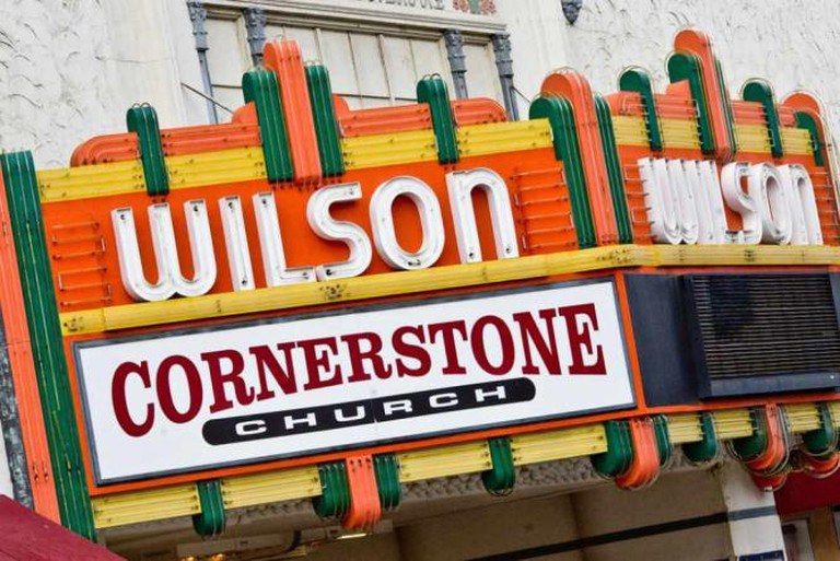 The sign for Cornerstone Church