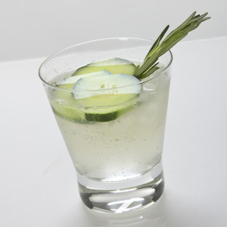 Gin and tonic with cucumber and rosemary