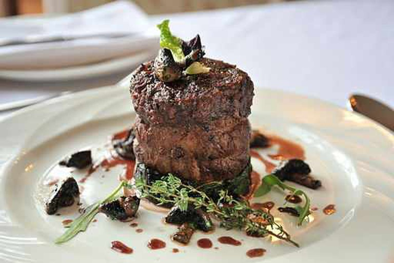 Beef fillet steak with mushrooms