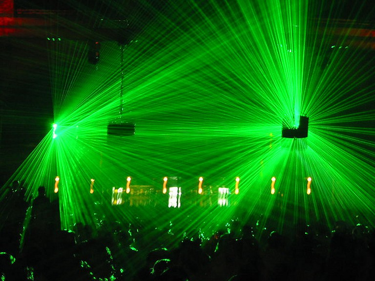 Lasers in a dance club