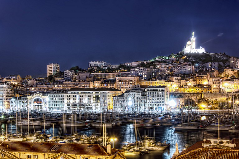 Marseille's Old Port by night