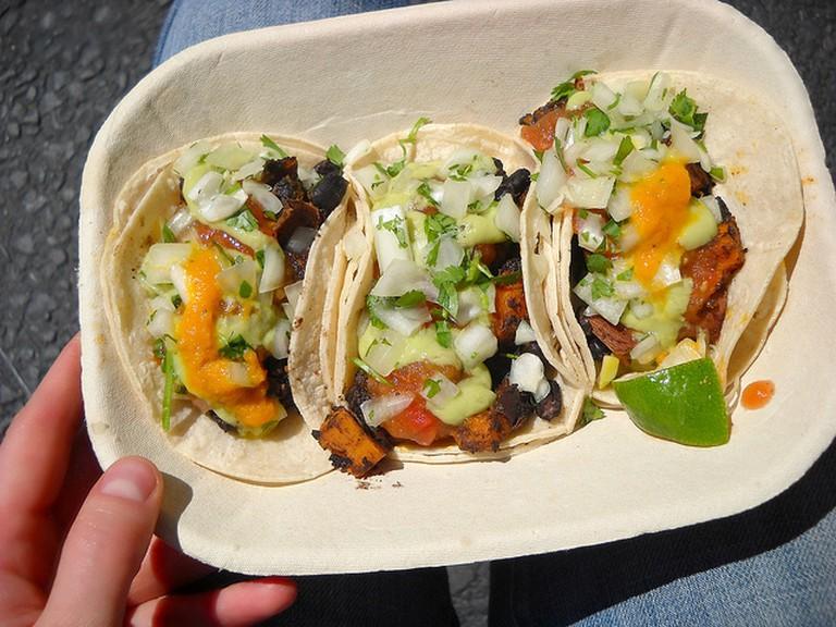 Roasted yam and black bean taco