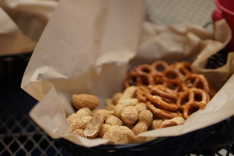 At the Lagunitas tap room in Petaluma provides free peanuts and pretzels in place of bread, to supplement beer and a meal