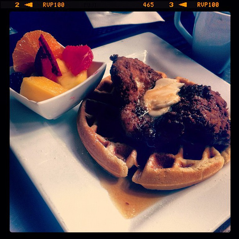 Chicken and Waffles at Hearsay Gastro Lounge