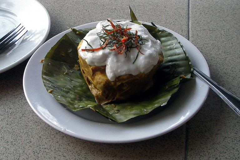 Amok, a typical Cambodian dish steamed in a banana leaf