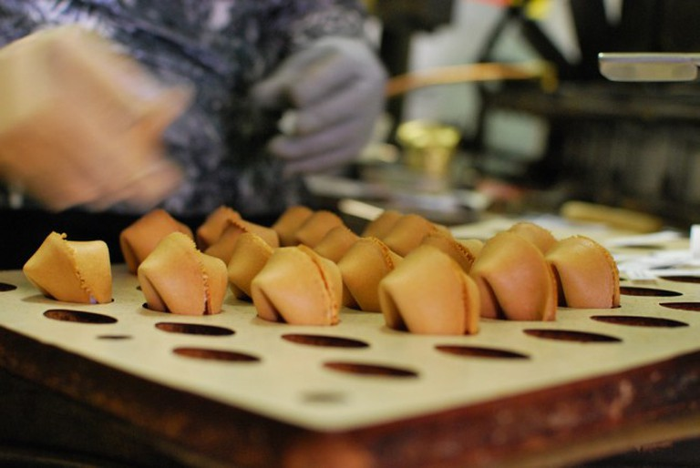 Fortune cookies at the factory