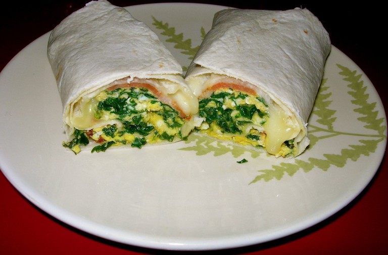 Kale breakfast burrito