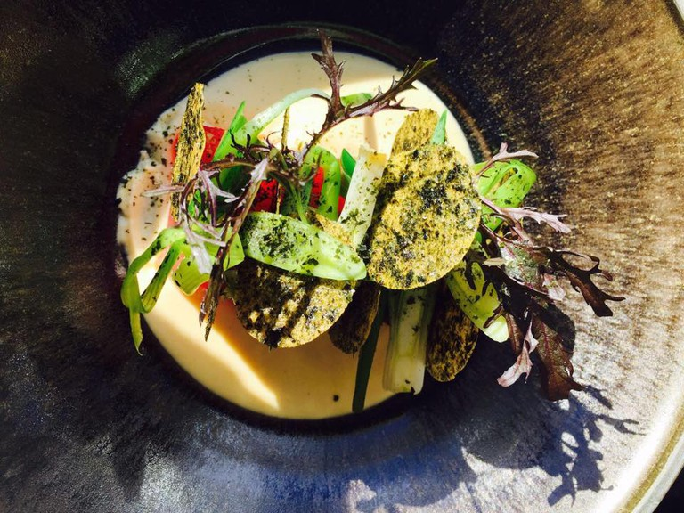 Yellow fin tuna bathed in miso, with black and red, crunchy seaweed