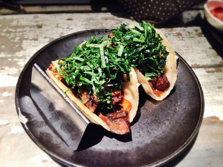 Sautéed Mushroom Tacos Topped with Kale