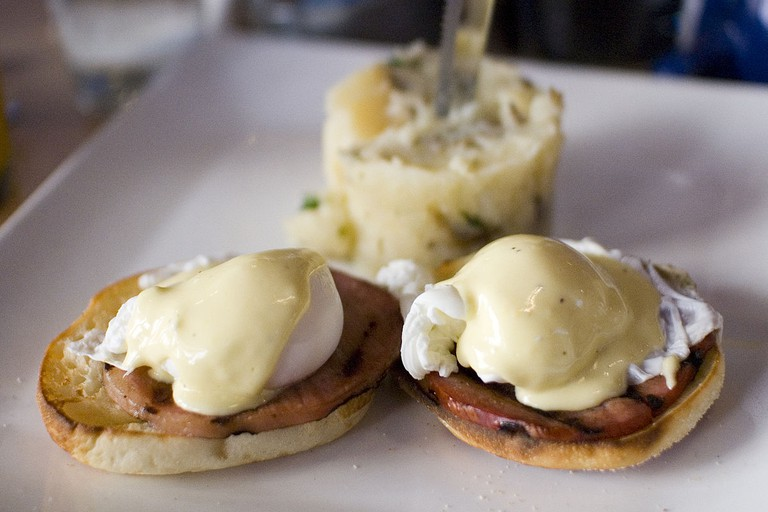 Eggs Benedict is an American dish for breakfast or brunch.