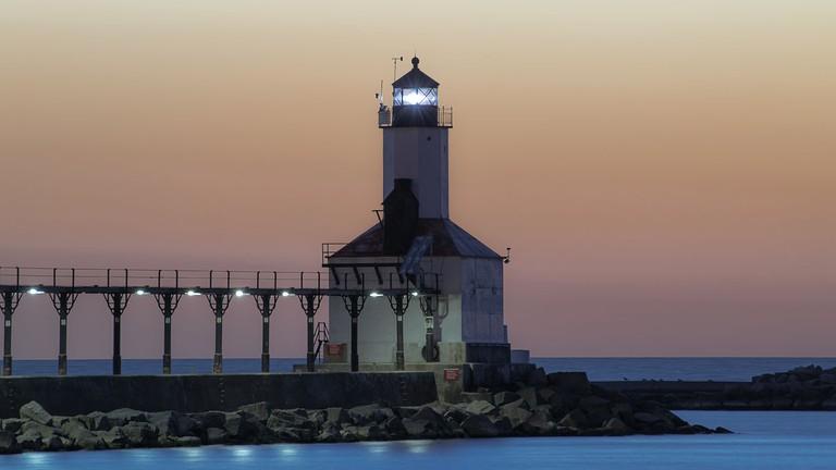 The iconic Michigan City lighthouse