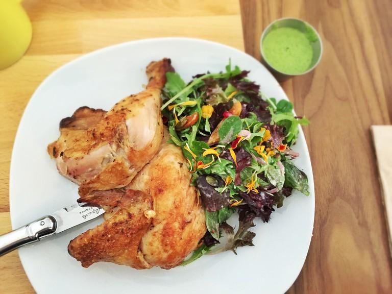 Rotisserie chicken with salad