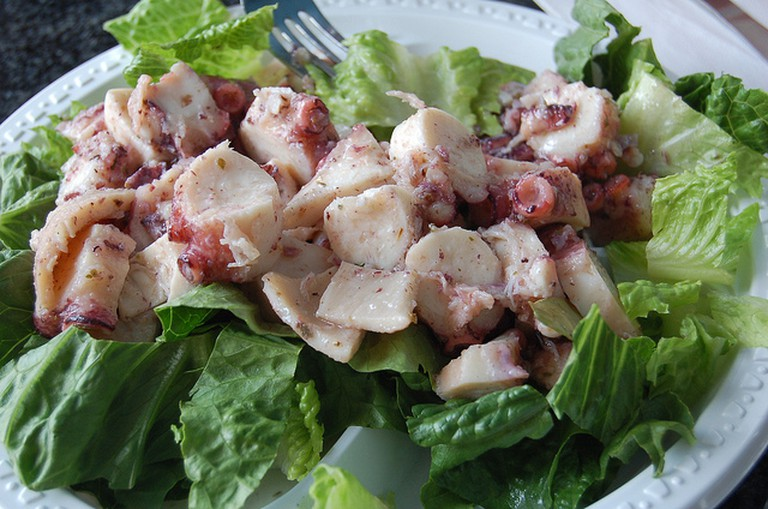 Typical octopus salad