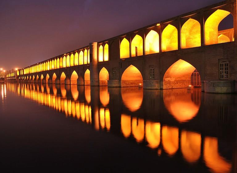 Si-o-se Pol at night, Isfahan, Iran