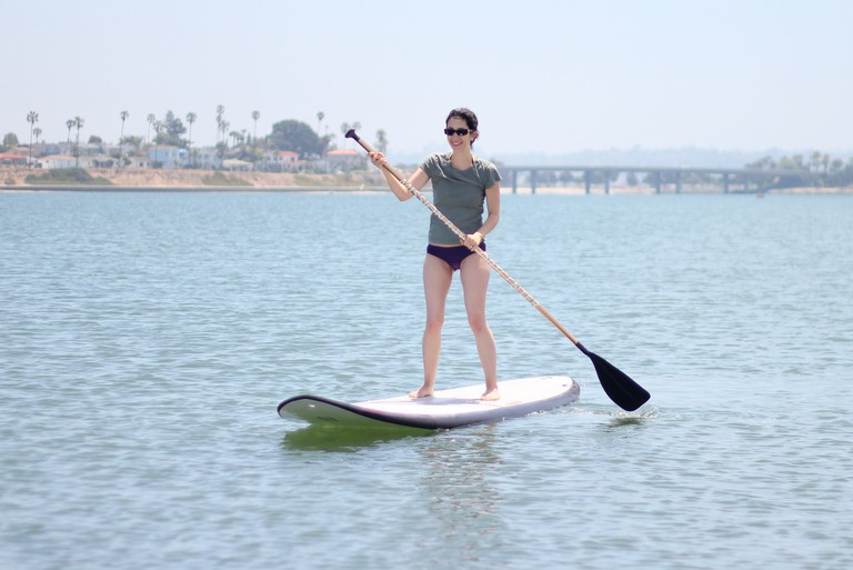 Enjoying the sunshine paddleboard style