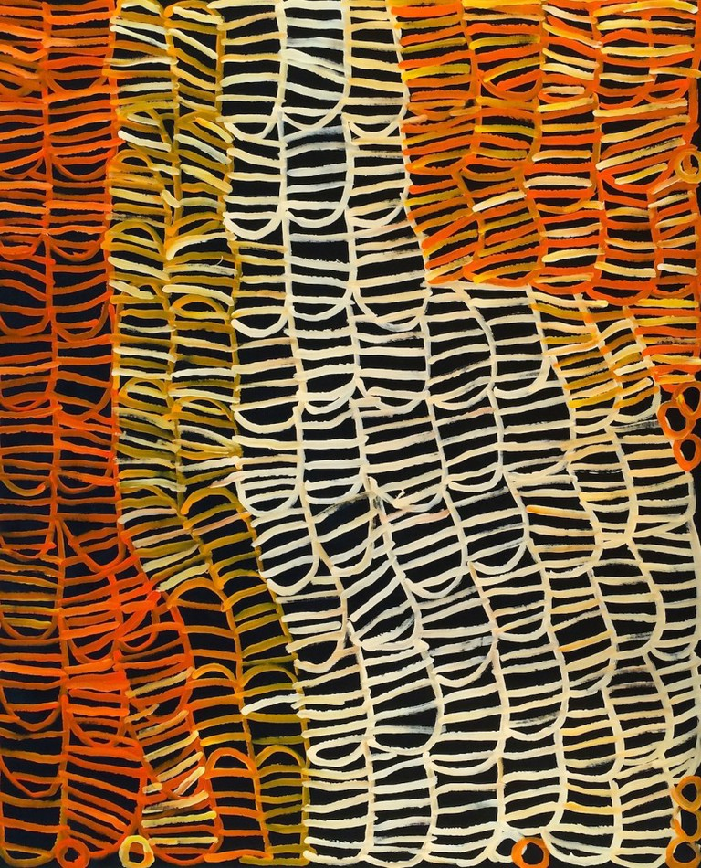 Central Desert art by the late Minnie Pwerle, one of the legendary contemporary Indigenous artists