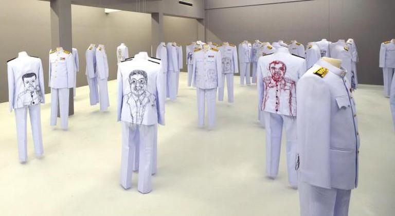 Jakkai Siributr, Rape and Pillage, 2013, embroidery on 39 Thai civil service uniforms, dimensions variable