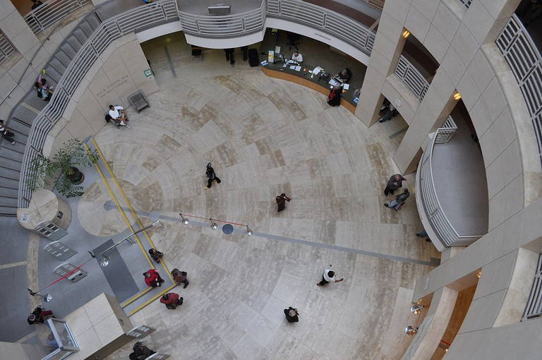 Looking down on the SFPL Main Branch