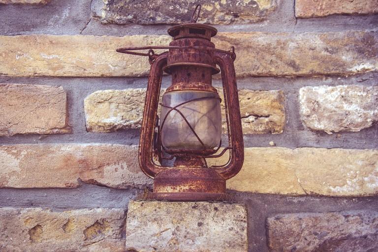 Rusted antique lamp