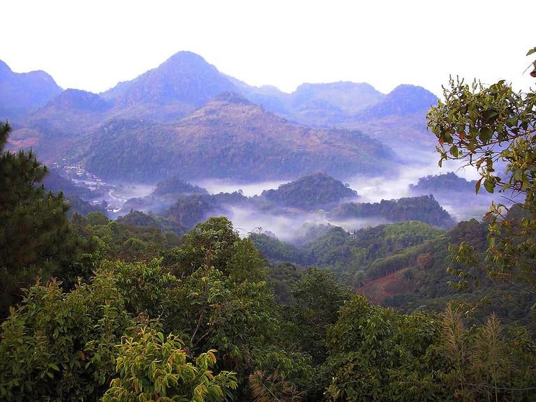 Remote village in Thai mountains at dawn - Chiang Mai