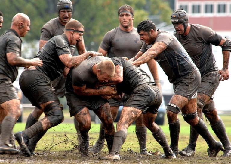 Muddy rugby match