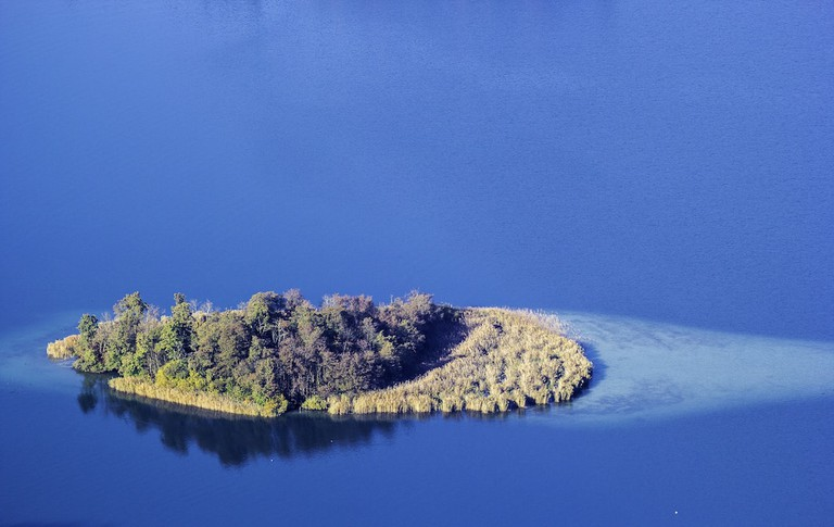 A view from the tower of an island in the lake