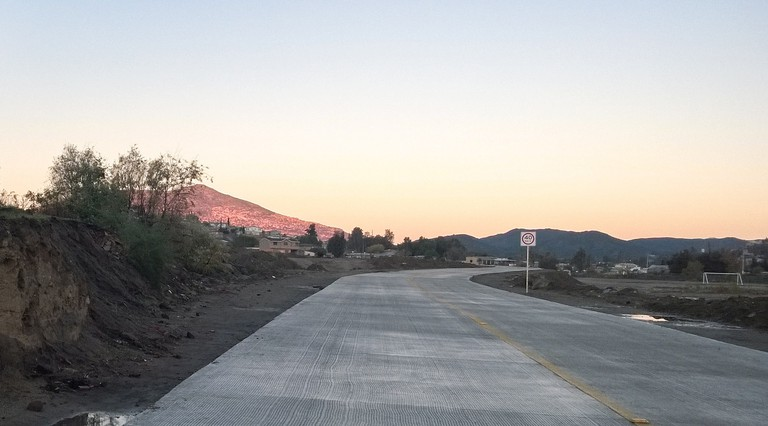 A road cutting through Tecate