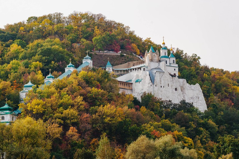 Svyatogorsk, Ukraine - September 29, 2019: Sviatohirsk Lavra or the Sviatohirsk Cave Monastery at the Sviatohori National Nature Park