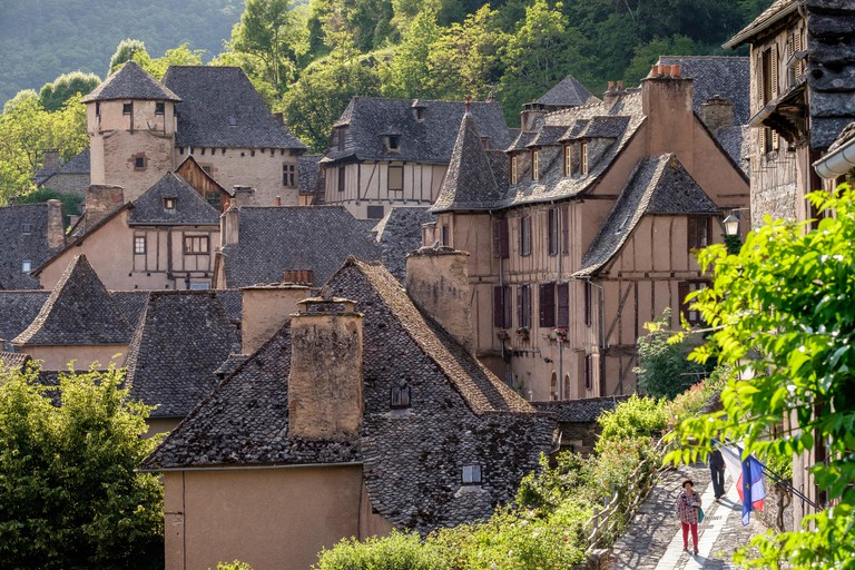 Conques medieval buildings and roofs Aveyone department France