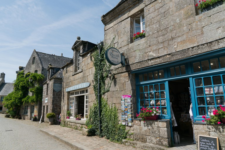 Locronan, Finistere / France - 23 August, 2019: view of the historic and picturesque French village of Locronan