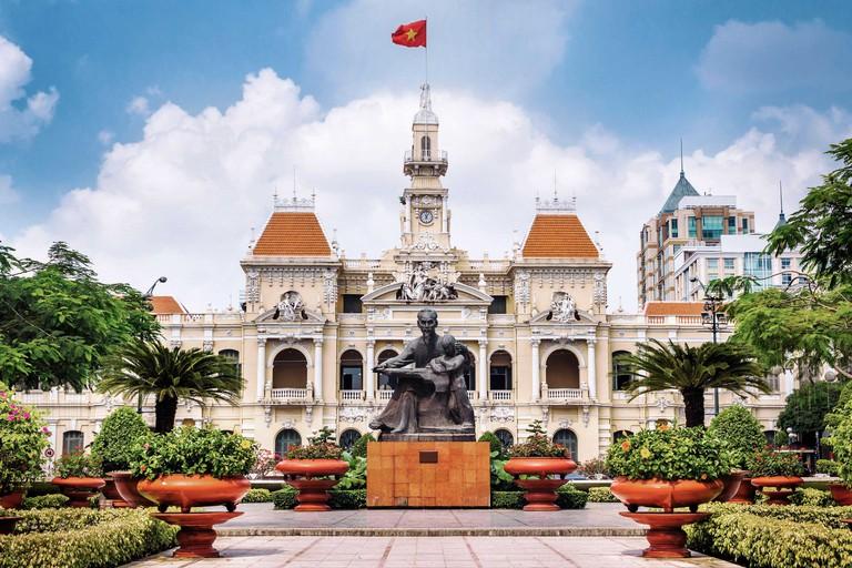 Ho Chi Minh City Hall in Ho Chi Minh City aka Saigon, South Vietnam.