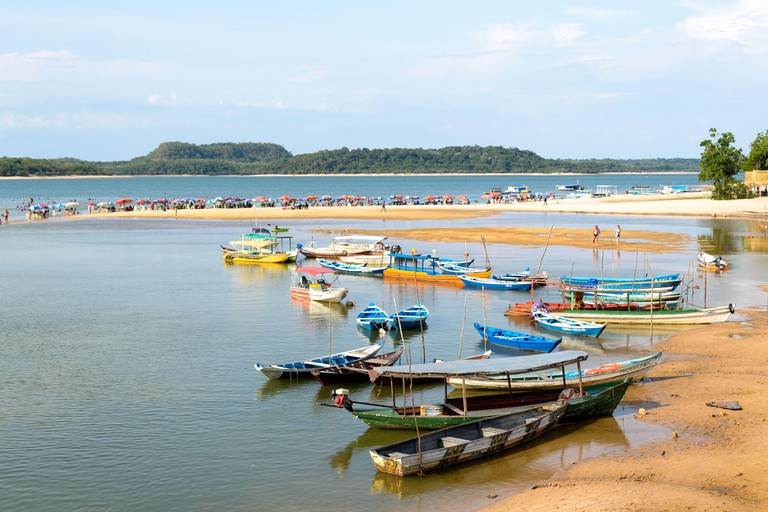 Alter do Chao, Para, Santarem - State of Para, Brazil, november 2019. A beautiful and famous river beach, these waters go through the Amazonian forest
