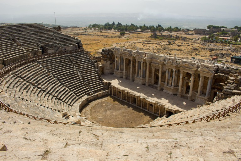 Ruins of the ancient town Hierapolis, Roman amphitheater in ruins, Pamukkale