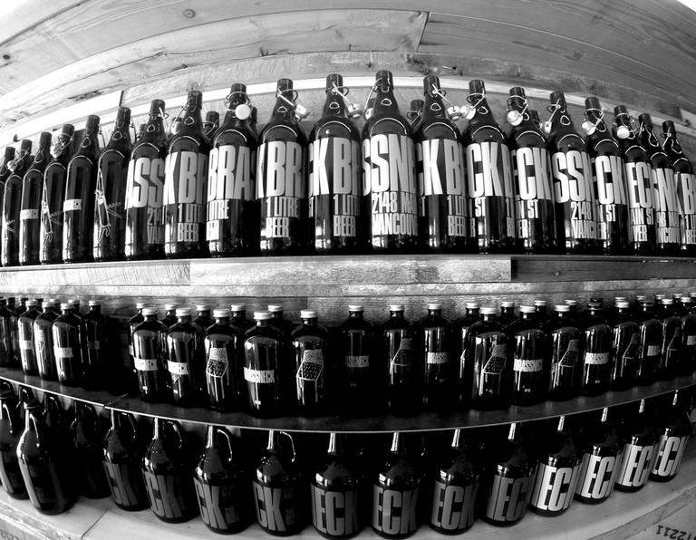 Brassneck Brewery's growler shelf