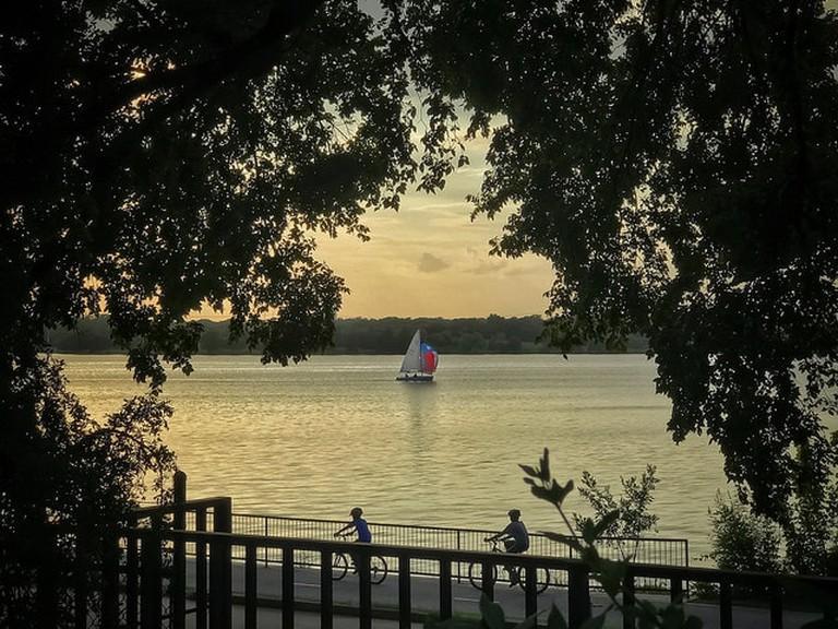 Biking and sailing are popular pastimes at White Rock Lake