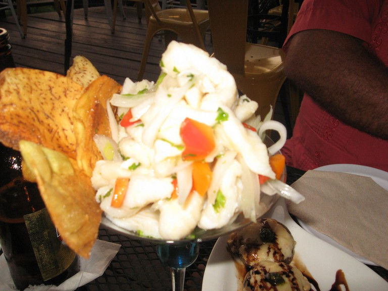 The grouper ceviche with root vegetables at Moon's is colorful and delicious