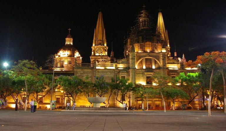 Guadalajara cathedral by night